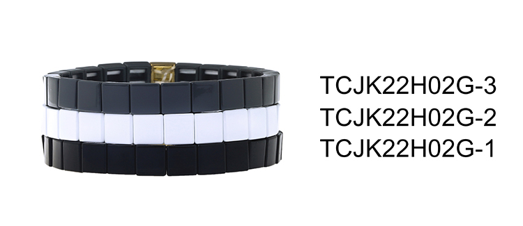 Hot Trendy Simple fashion Style Square Shqpe Tile Enamle Bracelet Handmade Jewelry