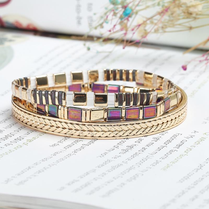 Stylish 3pcs/set Gold Plated Copper Tila Beads Handmade Bracelet Wholesale Jewelry