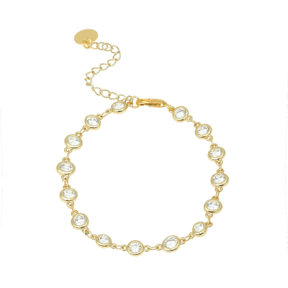 Wholesale Women Jewelry Gold-Plated / Silver-Plated Copper Style Zircon Bracelet