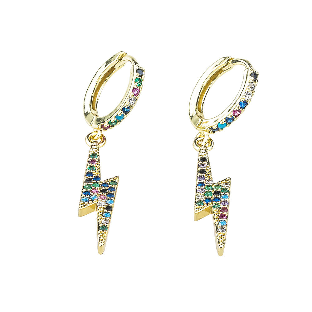 Gold / Silver Plated Women Jewelry Sweet Shaped Colorful Zircon Style Earrings For Girls