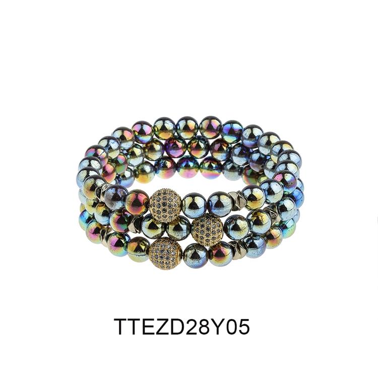 Wholesale Jewelry Friendship Dazzle Bright Color Beads 3Pcs/Set Women Bracelet