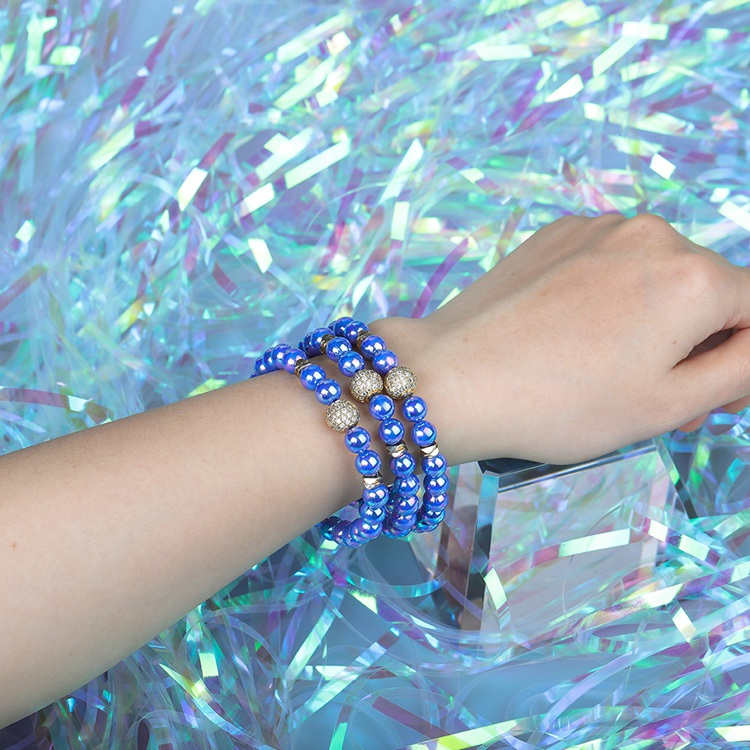 Wholesale Jewelry Friendship Dazzle Bright Color Beads 3Pcs/Set Women Bracelet