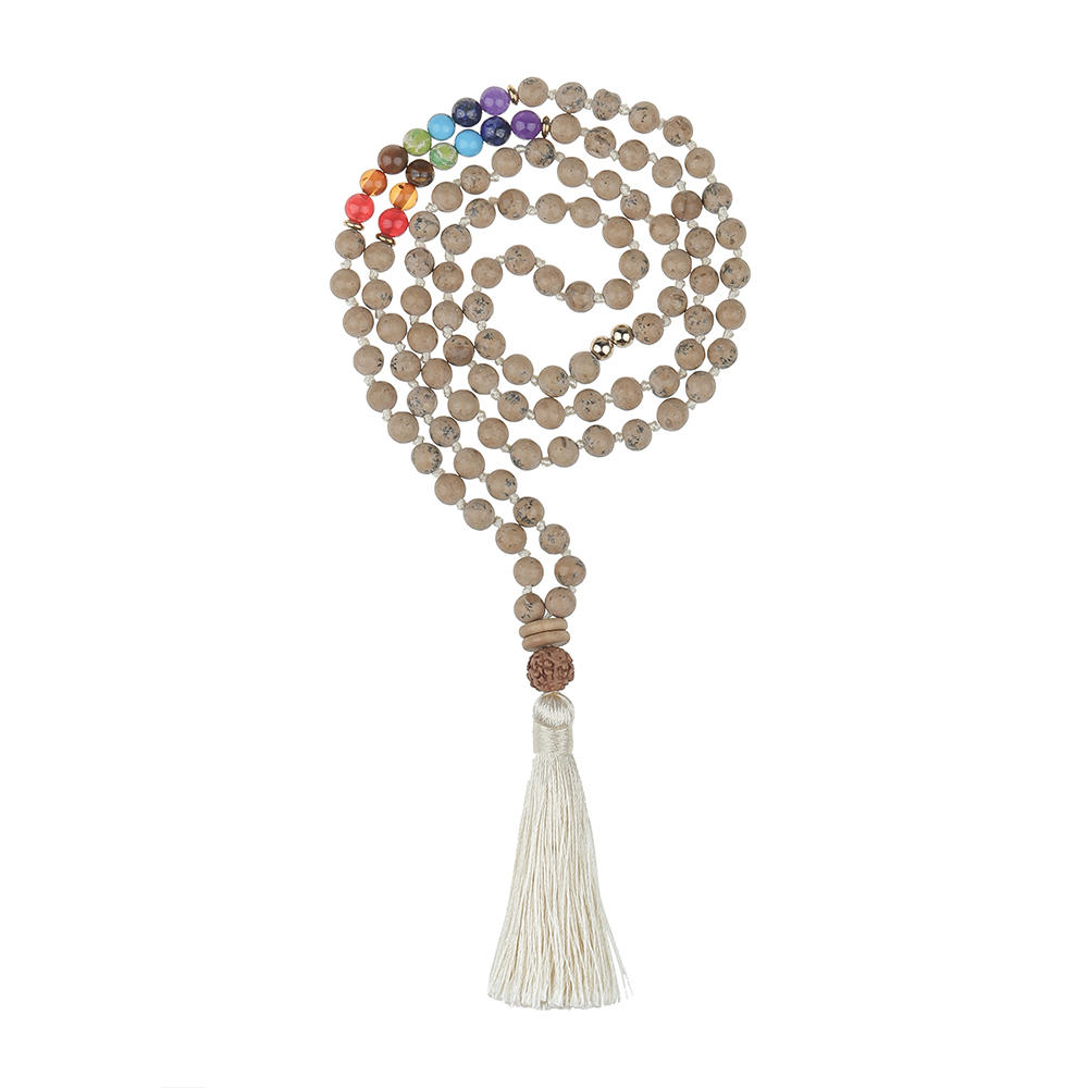 Malas Necklace 108 Pcs Natural Stone Beads Tassel Style Wholesale Women Jewelry
