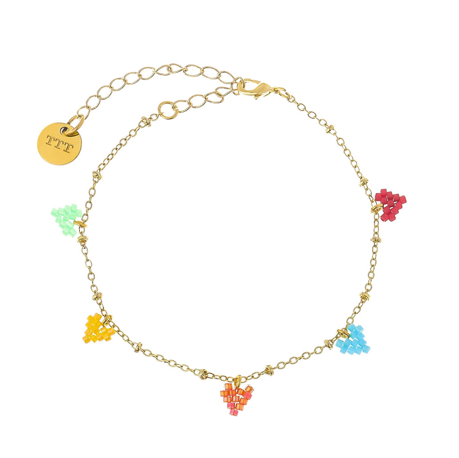 Handmade chain seed bead charm bracelet