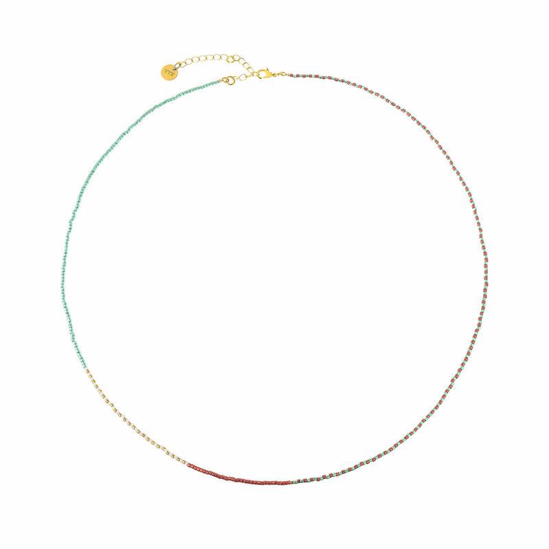 Rainbow wrap Miyuki bead necklace
