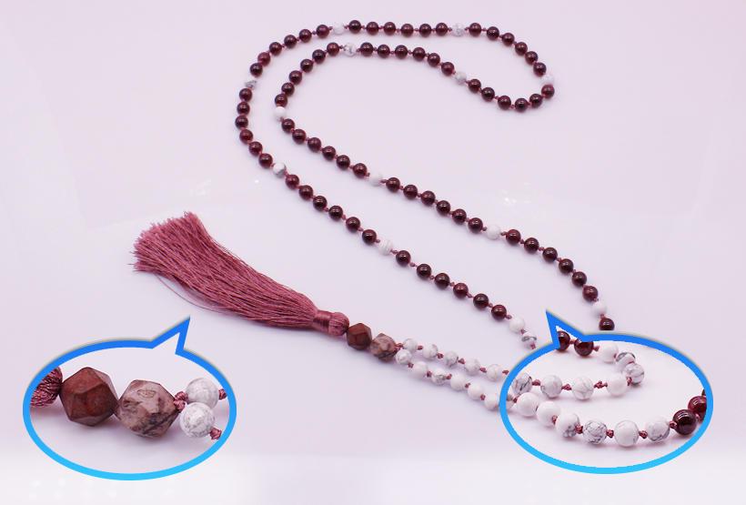 Garnet Beads Mala Necklace Yoga Necklace
