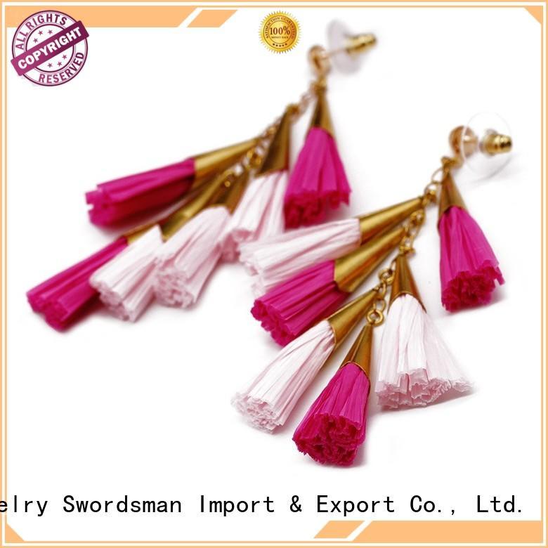 unique earrings handcrafted TTT Jewelry Brand raffia earrings