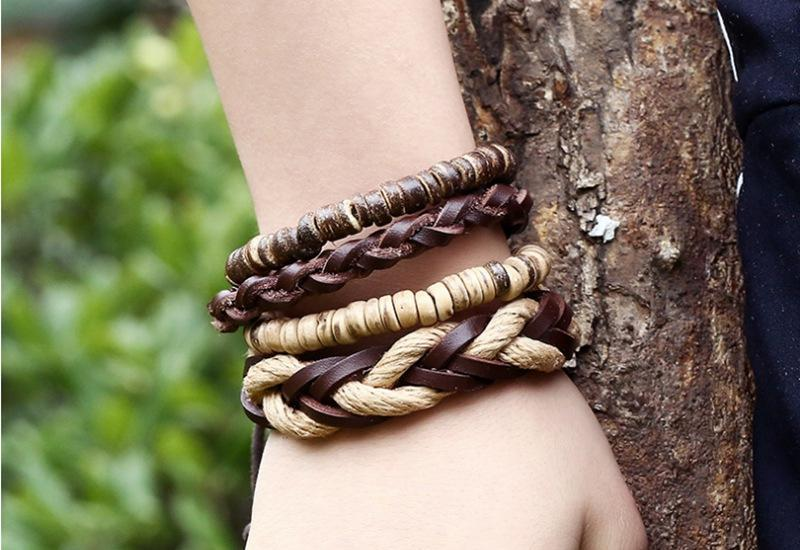 Vintage Leather Wrap Bracelet Set