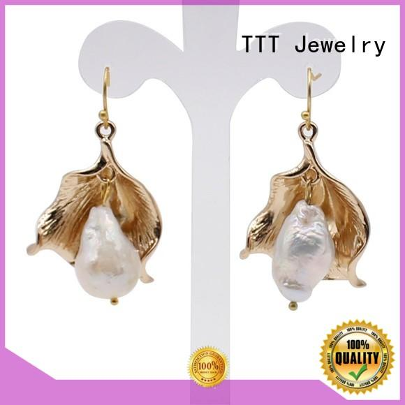 TTT Jewelry Brand earrings fashionable design custom black pearl earrings