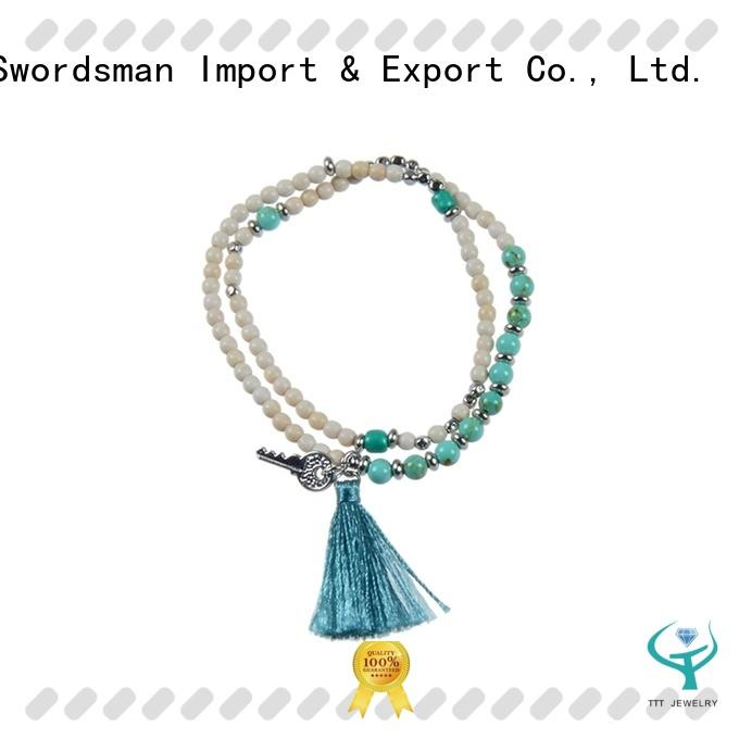 Handmade Natural Stone Mutilayer Bracelet With Tassel And Charms