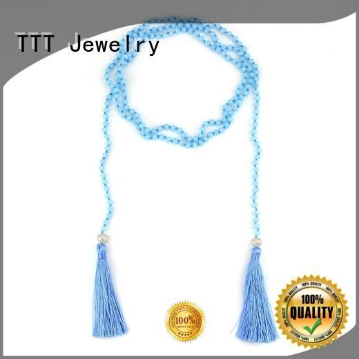 layer wrap blue necklace TTT Jewelry wrap necklace