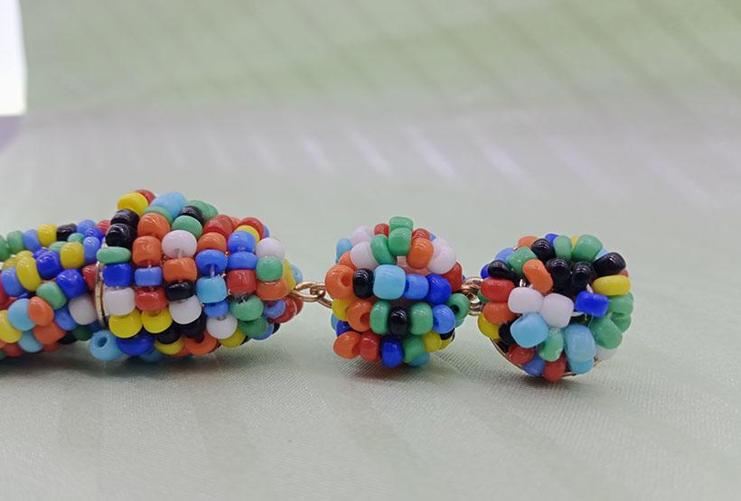 Handmade Seed Bead Tassel Earrings