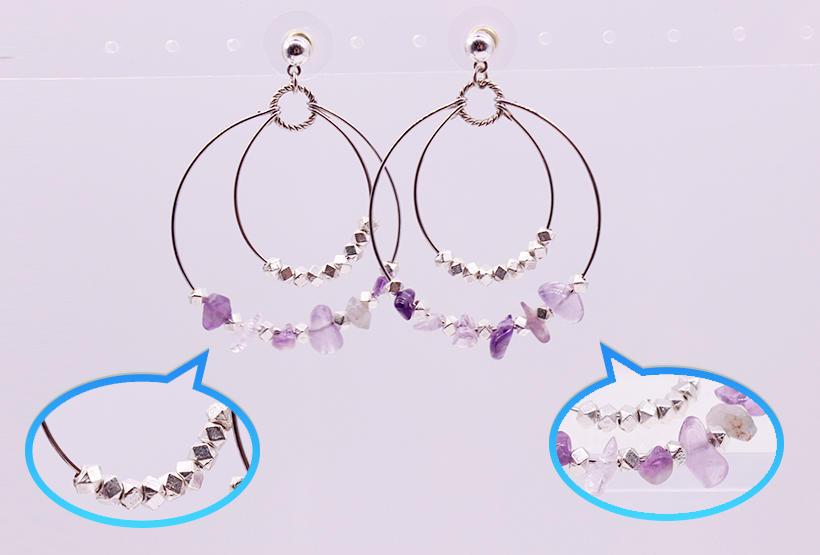 Amethyst Chip Double Hoop Earrings February Birthstone Hoop Earrings
