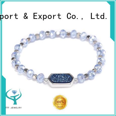 Handmade Crystal Beads Bracelet With Druzy Charms