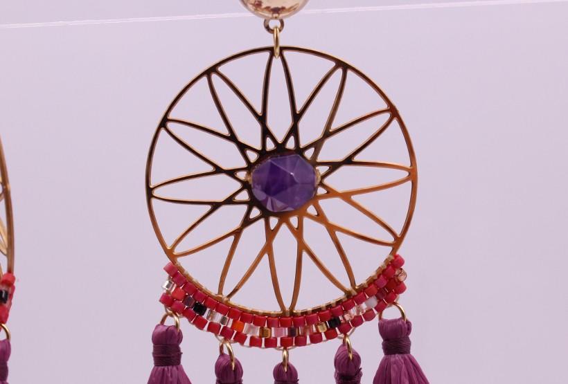 Amethyst Hoop Earrings February Birthstone Hoop Earrings