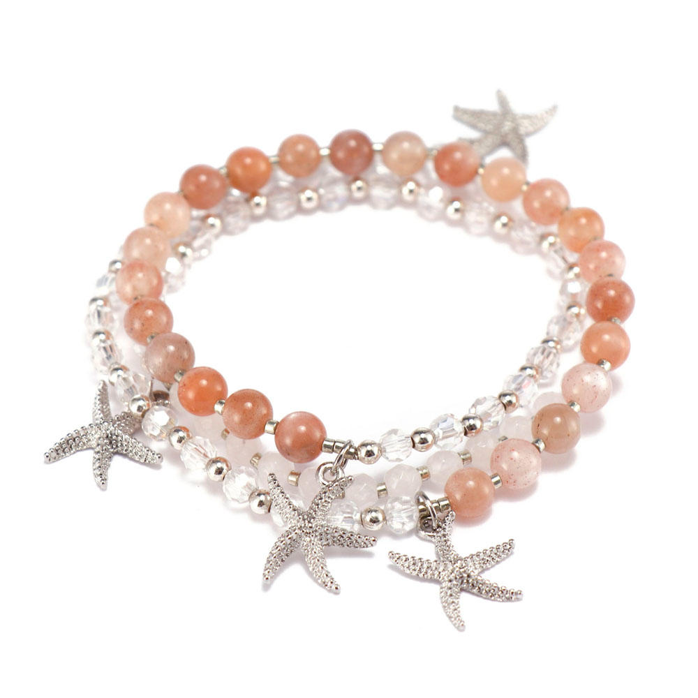 competitive price rose stone bracelet doublelayers great deal for trader-3