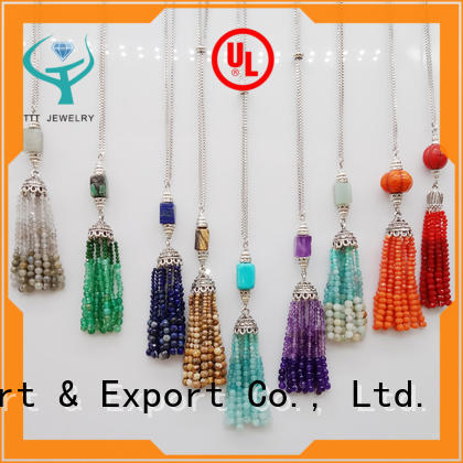 Wholesale Handmade Stone Bead Tassel Pendant Necklace