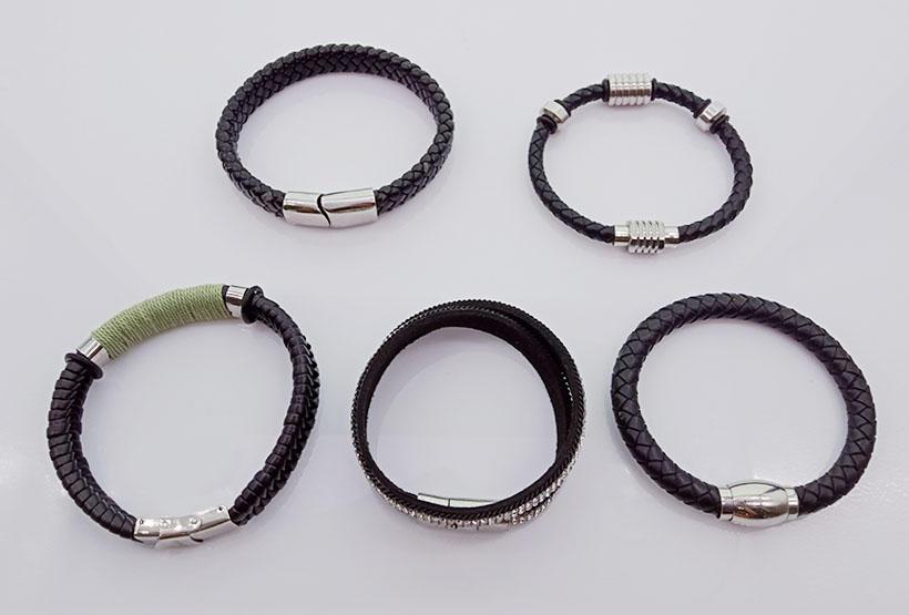 Wholesale Handmade Magnetic Leather Men Woven Bracelets-3