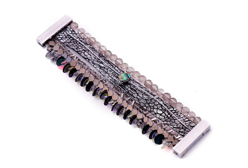 Boho Handmade Leather Bracelet With Crystal Beads-3
