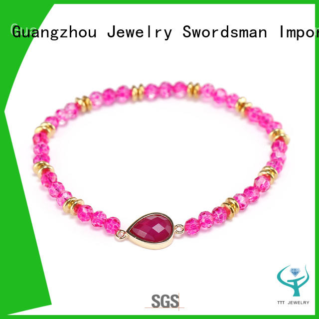 Handmade 4mm Crystal Beads Bracelet With Stone Charms