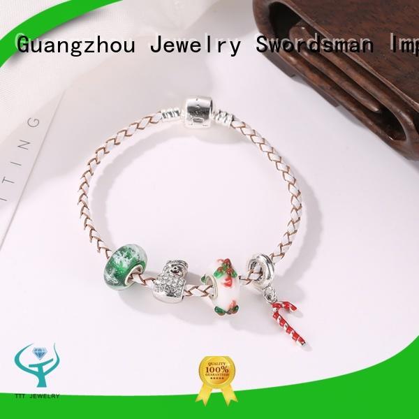 Wholesale Handmade Christmas Gift Charms Leather Bracelet For Kids