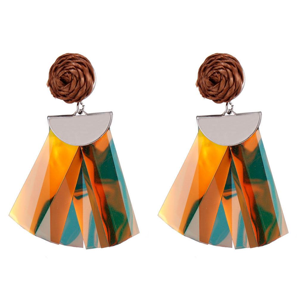 Handmade Raffia Plastic Pieces Tassel Earrings-3