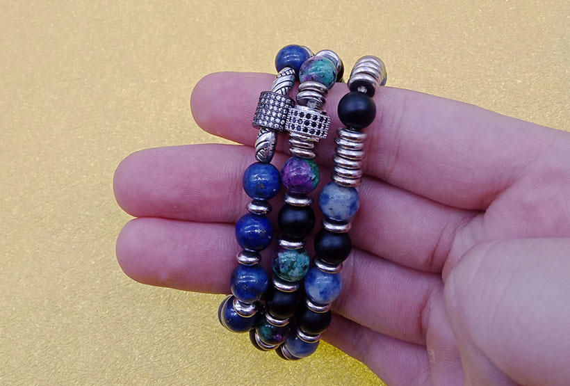 Stone Beads Alloy Charms Stretch Bracelet