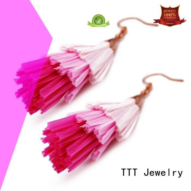unique earrings grass raffia earrings TTT Jewelry Brand