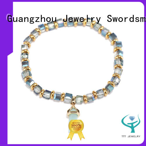 Handmade Crystal Beads Bracelet With Stone Charms