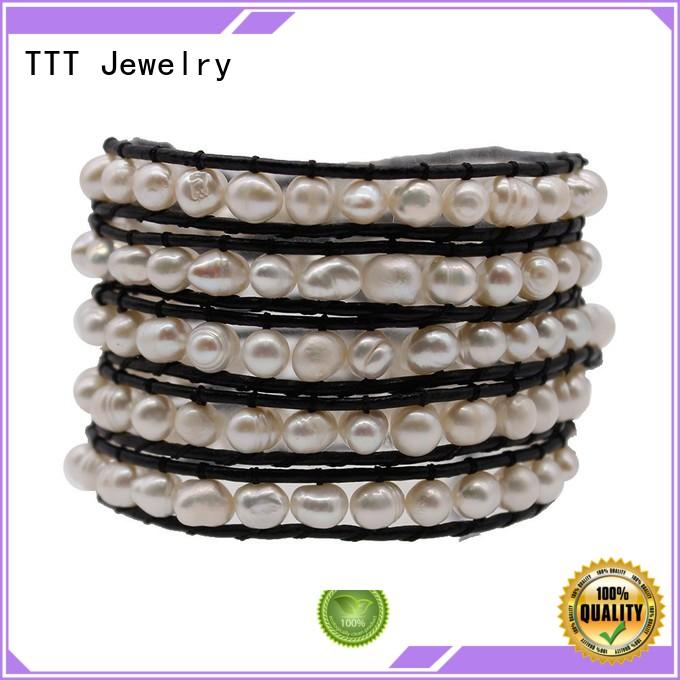 Quality TTT Jewelry Brand 3 strand pearl bracelet pearl freshwater