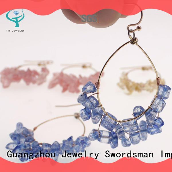 TTT Jewelry seed crystal ball hoop earrings international market for dealer