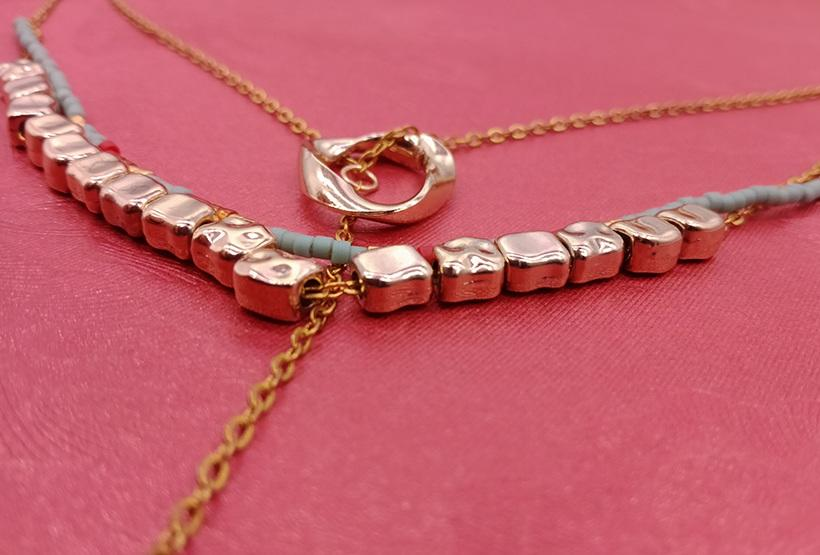 Gold Plated Miyuki Mutilayer Necklace With Druzy Charms