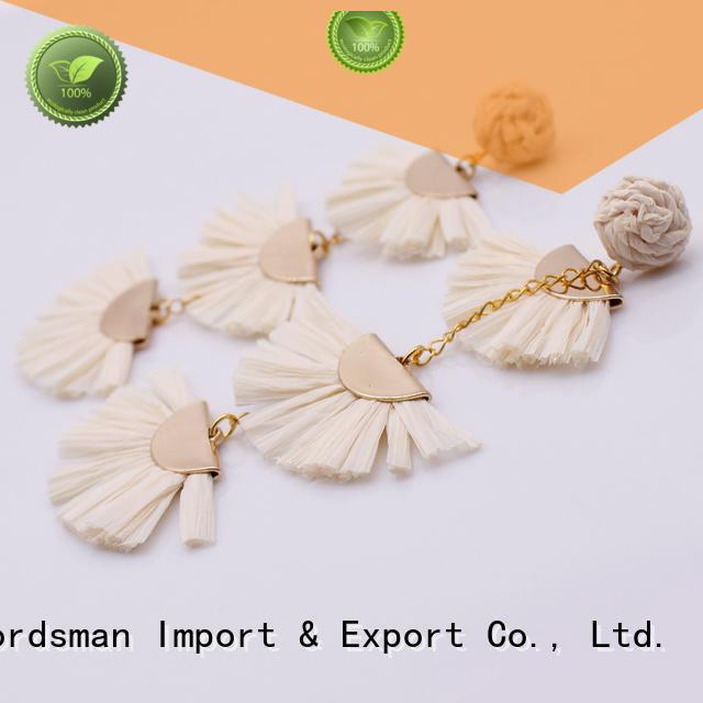 TTT Jewelry Brand bulk fanshaped earrings handcrafted raffia earrings