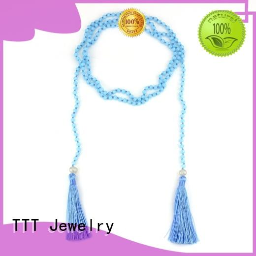 blue tassel handmade TTT Jewelry Brand beaded wrap necklace manufacture