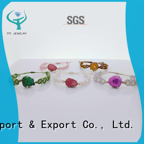Wholesale Handmade Crystal Bead Druzy Charms Woven Bracelet