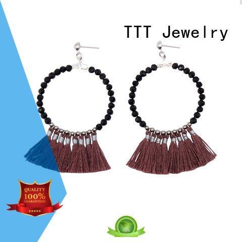 TTT Jewelry black tassel earrings fantasy tassel beaded