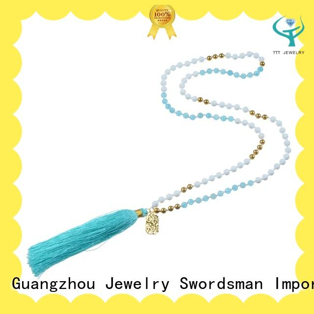 Stone Bead Tassel Necklace With Charms