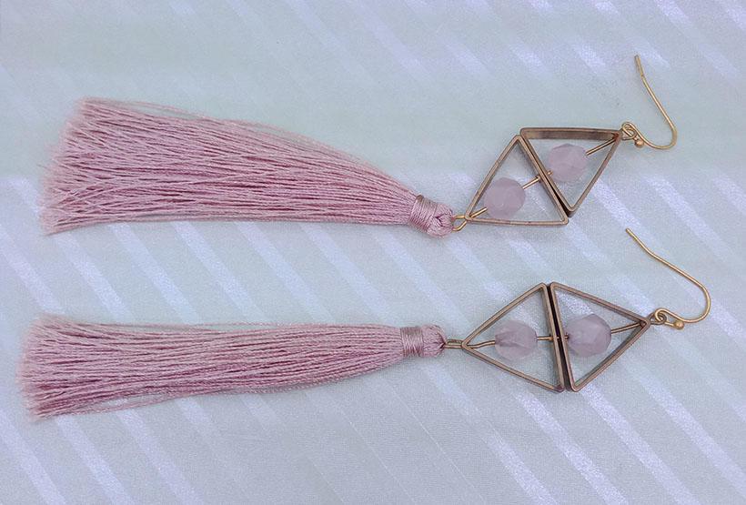 Copper Rose Quartz Pink Tassel Earrings