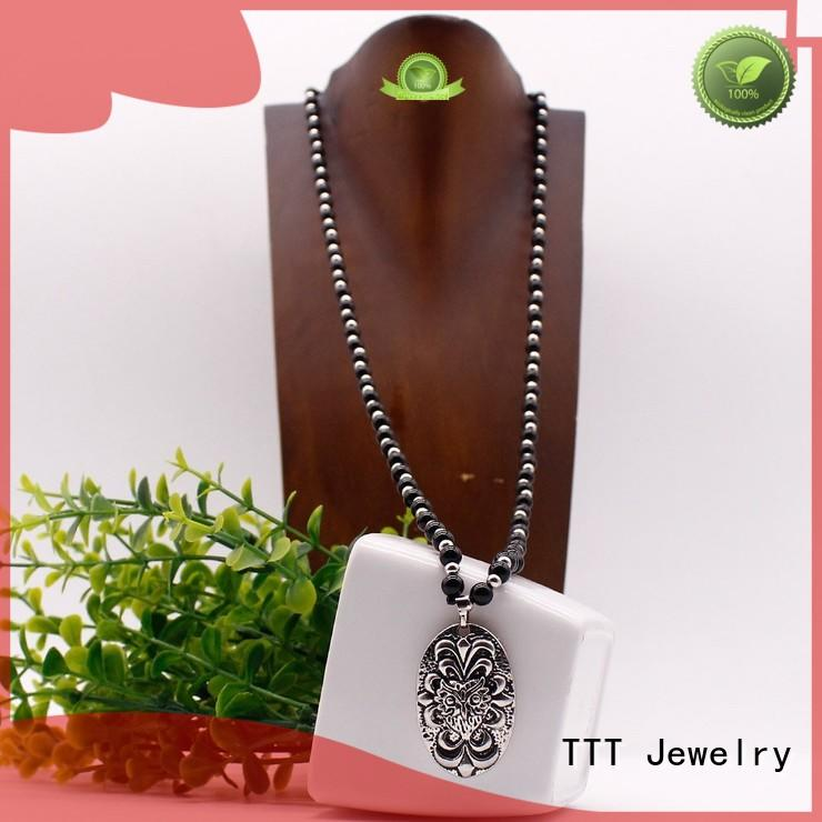 pendant stone necklace black pendant necklace TTT Jewelry