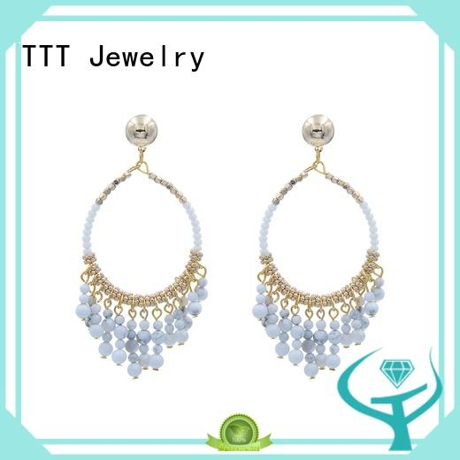 Hot crystal blue stone earrings pendant TTT Jewelry Brand