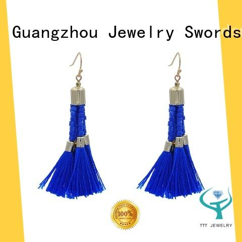 Bohemian Handmade Tassel Earring  With Square Beads For Women