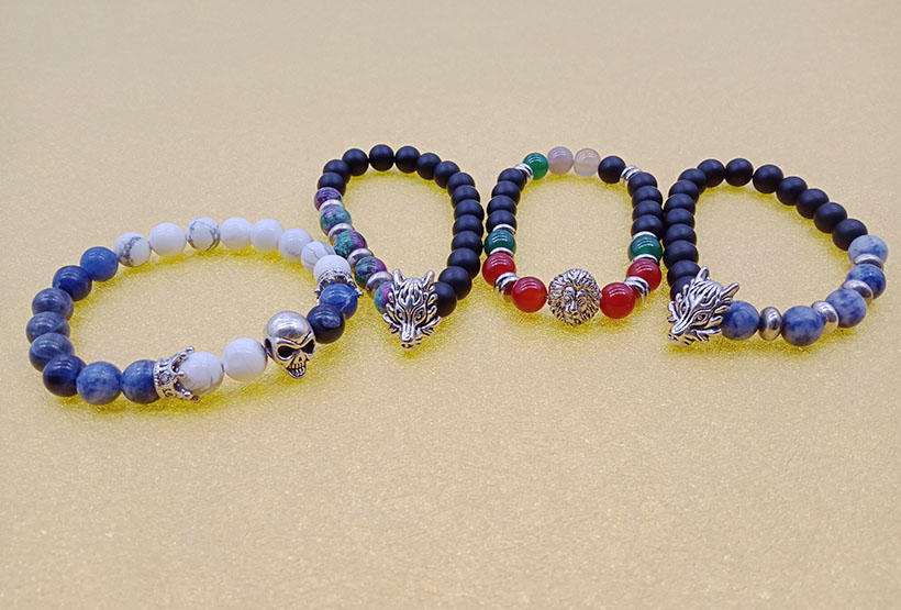 Stone Bead Alloy Charms Stretch Bracelet