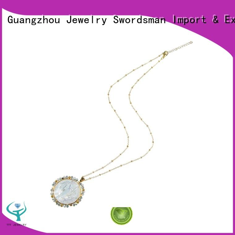 Shell Pendant With Crystal Stainless Steel Necklace