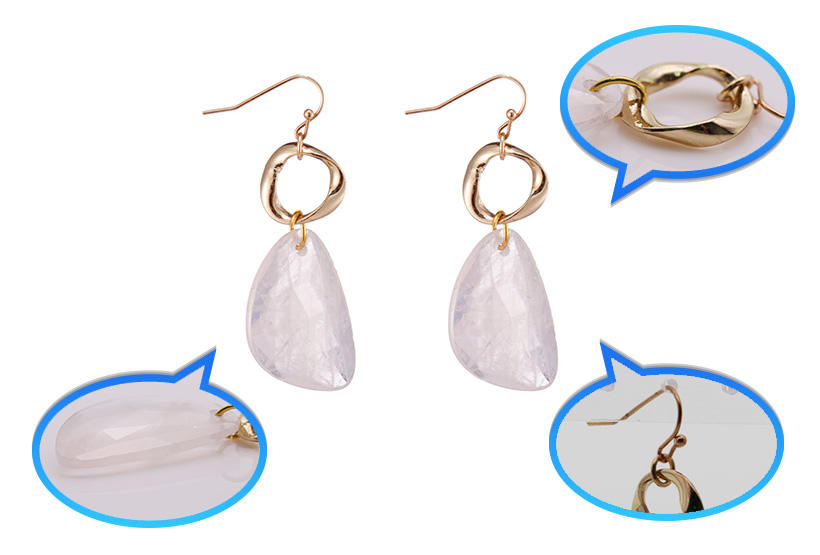 Handmade Rose Quartz Drop Earrings With Copper Accessories-1
