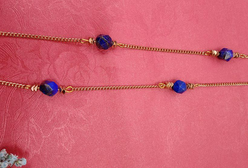 Gold Plated Chain Lapis Lazuli Beads Necklace