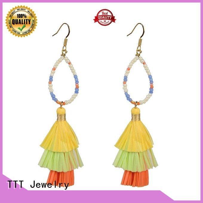 TTT Jewelry unique earrings fanshaped bulk earrings raffia