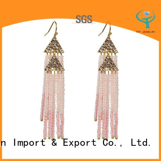 Chinese Seed Bead Tassel Earrings