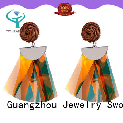 Handmade Raffia Plastic Pieces Tassel Earrings