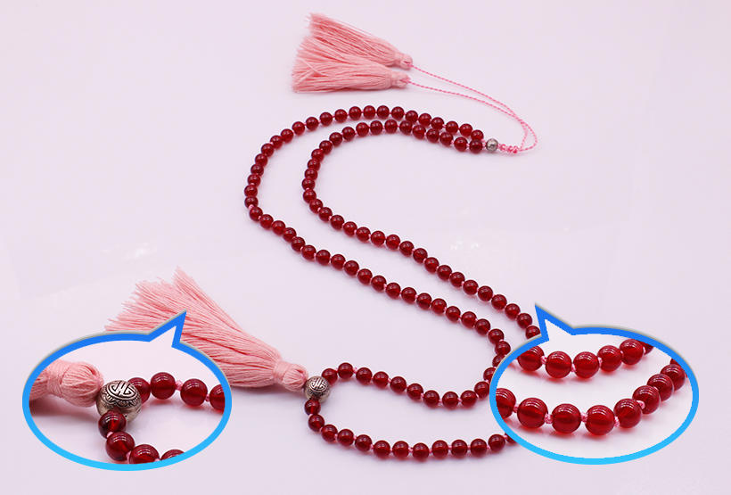 Garnet Beads Necklace Tassel Necklace With Copper Beads