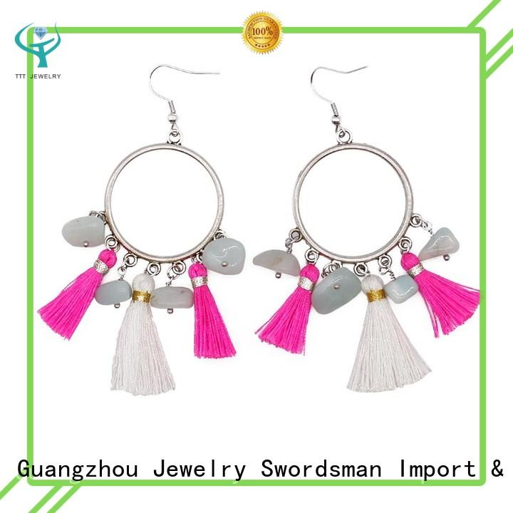 TTT Jewelry drop crystal hoop earrings customized for dealer